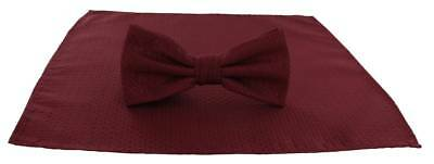 Michelsons of London Semi Plain Bow Tie and Pocket Square Set - Dark Red
