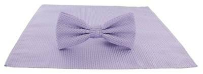 Michelsons of London Semi Plain Bow Tie and Pocket Square Set - Lilac