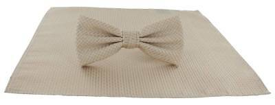 Michelsons of London Semi Plain Bow Tie and Pocket Square Set - Taupe
