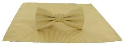 Michelsons of London Semi Plain Bow Tie and Pocket Square Set - Gold