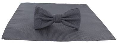Michelsons of London Semi Plain Bow Tie and Pocket Square Set - Grey
