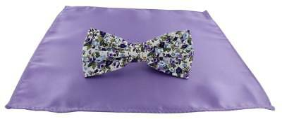 Michelsons of London Contast Floral Bow Tie and Plain Pocket Square Set - Lilac