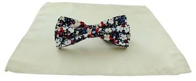 Michelsons of London Contast Floral Bow Tie and Plain Pocket Square Set - Cream