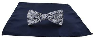 Michelsons of London Contast Floral Bow Tie and Plain Pocket Square Set - Navy