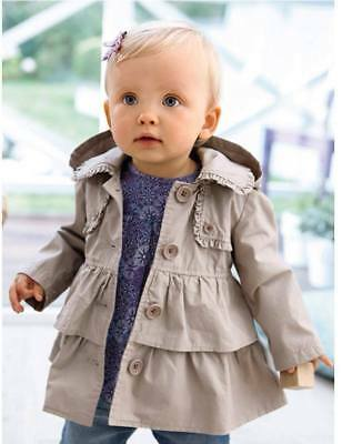 Girls Coat Lightweight Hooded Jacket with Frill Detail Size 4 Years New