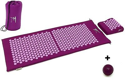 Kit d'acupression XL acupuncture massage relaxation sport 130x50x2,5cm viole/fus
