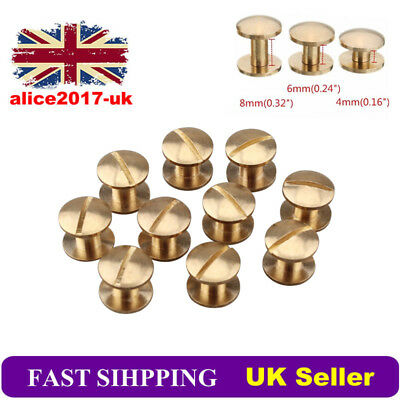 10Pcs Belt Screw Brass Solid Rivets Stud Head Leather Craft Chicago Nail Wallet