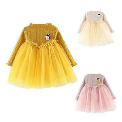 Toddler Baby Girls Dress Long Sleeve Princess Party Pageant Tulle Tutu Dresses