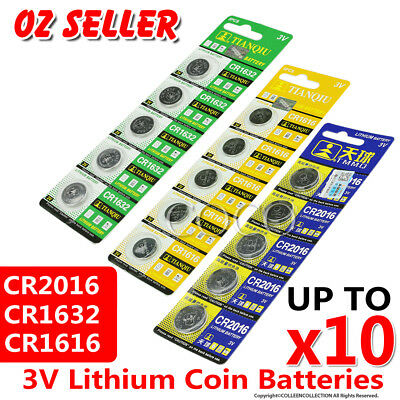 5-10X Cr1632 Cr1616 Cr2016 3V Coin Batteries Lithium Car Key Alarm Garage