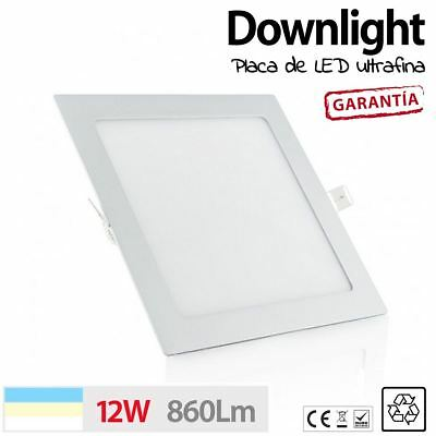 Downlight placa de LED CUADRADO 12W BLANCO CALIDO LED TECHO COCINA SLIM ULTRAFIN