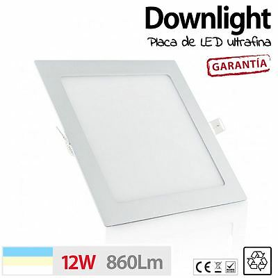Downlight placa de LED CUADRADO 12W BLANCO NEUTRO LED TECHO COCINA SLIM ULTRAFIN