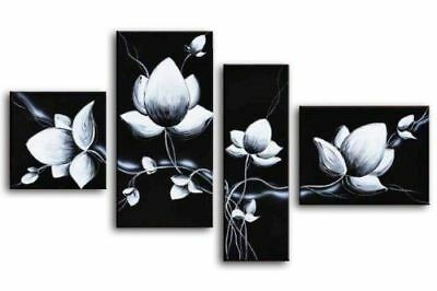 Canvas Wall Art Home Decor Four Pieces Hand Painted Black and White Flowers