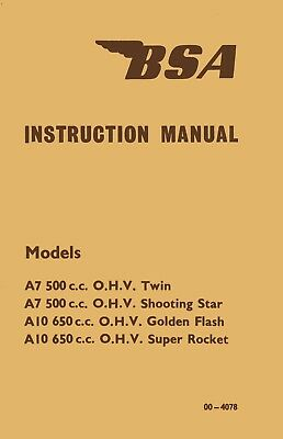 MC-1353 BSA Rocket Gold Star A10 RGS Instruction Manual 1962-1963 650cc