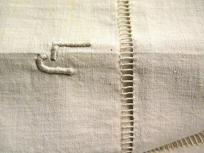 New Antique Vintage French Pure Flax Linen Bed sheet Monogram embroidery organic