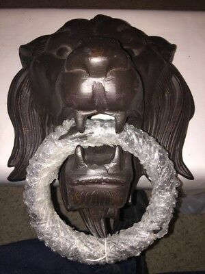 "15"" Solid Iron Lion King Head Front Door KNOCKER with Pull Ring Knock 17 Lbs"