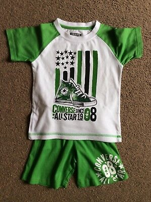 Boys Green Converse Summer Shorts & Tshirt Set Outfit Size Age 3 Years 3T