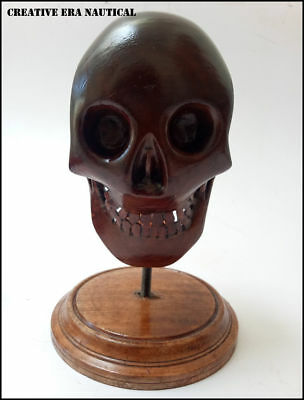 Medieval Greek Wooden Skull Skeleton  Antiqu With Wooden Stand Christmas Gift