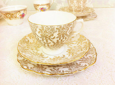 Golden Filigree tea Trio, Royal Vale Smooth Shape