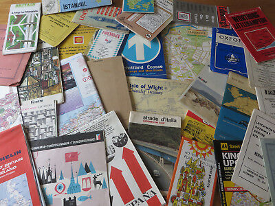 Lot 33 X Vintage Road Maps Mostly Uk But Also Some European & South Africa