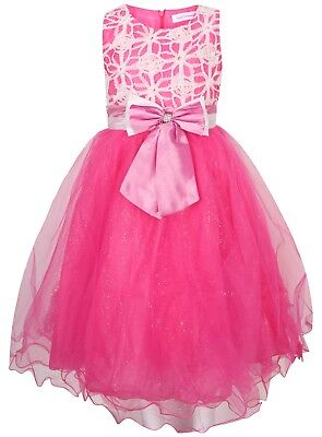 SALE Pretty Pink Silver Sequin Bow Open Back Party Disco Occasion Dress
