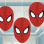 Amscan - New Spider-Man Honeycomb Decorations /3 Fancy Dress Worldwide Free P&P