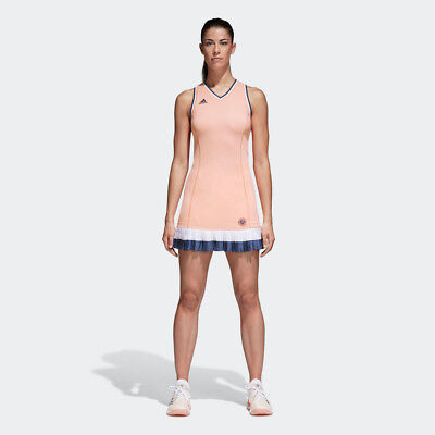 adidas Womens Roland Garros Dress Navy Blue Orange Pink White Sports Tennis