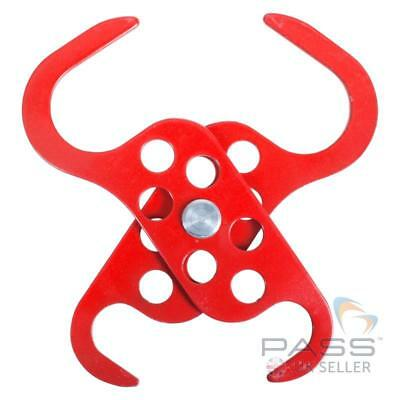 Lockout Tagout Dual Scissor Powder Coated Scorpio Hasp - 6 hole - Red