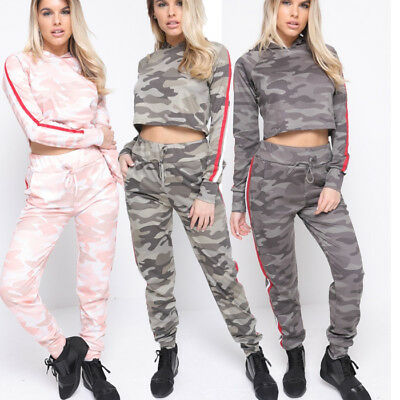 Womens Army Camo Lounge Wear Joggers Full Military Tracksuit Set 2Pc Trouser