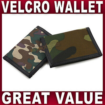 Boys CAMOUFLAGE WALLET Trifold Canvas gym sports ID window Mens army camo NEW