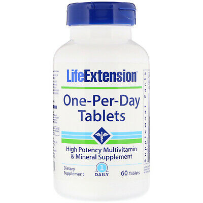 Multi-Vitamin & Mineral Tablets - Life Extension One-Per-Day - 60