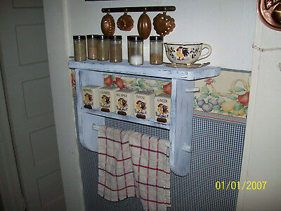 Primitive Grungy Spice Towel Shelf Woodworking Plan Pattern Farm Cabin Chic Old