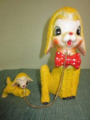 Vintage Arnart Textured Lamb With Baby On Chain Figurines - Japan
