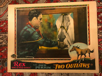 Two Outlaws 1928 Universal silent western lobby card Jack Perrin Starlight