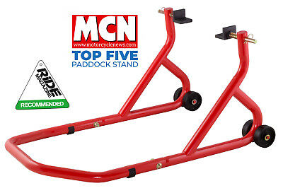 New Universal Motorcycle Sportbike Track Day Garage Pit Rear Paddock Stand Red