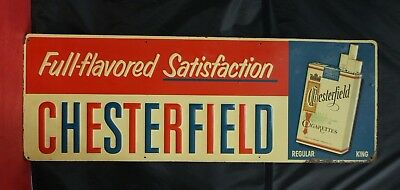 "Vintage Chesterfield Cigarettes ""Full Flavored Satisfaction"" Tin Sign (11107)"