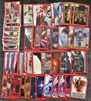 Bundle Lot 40+ Topps Journey To Star Wars The Last Jedi Trading Cards Shiny Foil