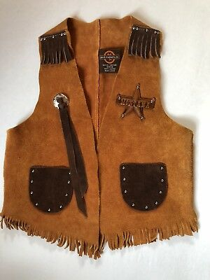 Craighead Co Childs M Suede Leather Fringe Western Montana Vest