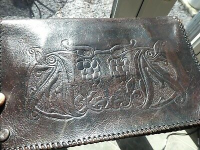 Stunning Arts & Crafts Movement Tooled Leather Clutch Bag Purse