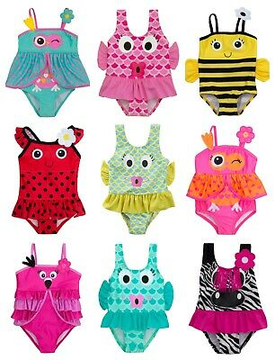 Girls Animal Swimming Costumes 3-6M to 5-6Y Bright Colourful Designs