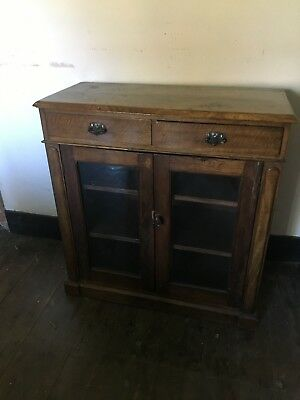 Vintage Antique Oak Display Cabinet Glass