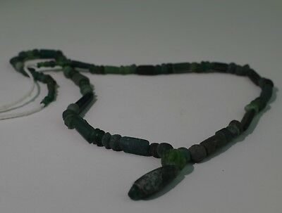 Ancient Roman Green Glass Bead Necklace - Circa 2Nd Century Ad - No Reserve! 16