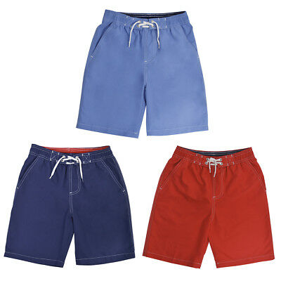 Boys Swim Shorts Size Age 6-7 or 8-9 Years Lined Kids Trunks Swimwear Red Blue