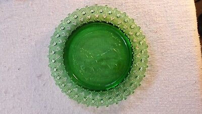 Rare Mosser Glass Green Plate Reticulated Lace Edge  Little Girl with Bird