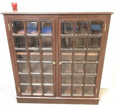 Vintage 30 Pane Beveled Glass 2 Door Bookcase