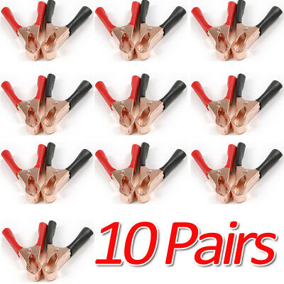 20X -MD Red/Black Car Battery Test Lead Clip Crocodile Alligator Clamps 50A 80mm