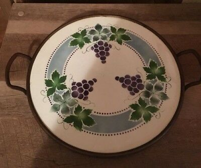 Max Dannhorn Antique Hand Decorated Porcelain Handled Butler Tray Grapes Motif