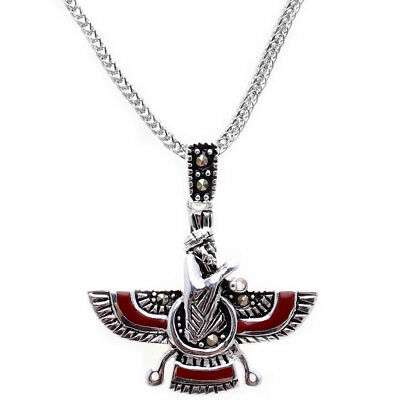 Sterling Silver 925 Farvahar Necklace Chain Persian Zoroastrian Persia Gift Art
