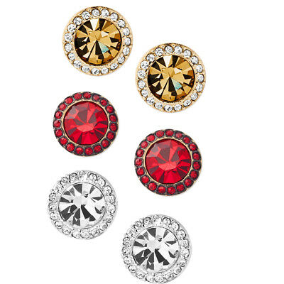 3a28349107a2e NWT MICHAEL KORS Stone and Pavé Stud Earrings Red/Gold/Silver Tone
