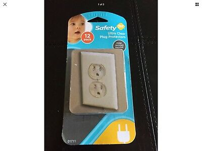 New 12 Pack Clear Outlet Plug Protectors Rounded Child Resistant Safety 1st Bra