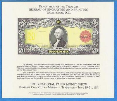 BEP souvenir card B 53 IPMS 1981 face 1905 $20 Technicolor Gold Certificate